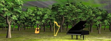 Musique dans les bois - 3D rendent illustration libre de droits