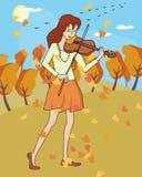 Musique de chute : fille jouant le violon au paysage d'automne Photographie stock libre de droits