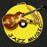 Musique de jazz sur le fond d'un disque vinyle Images stock