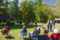 Musique de Mountian sur Ridge Parkway bleu Images libres de droits