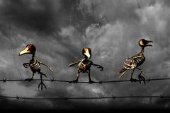 Musique de nuit Oiseaux squelettiques Fond noir et blanc Image stock