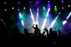 Musique de partie et lumières de Bokeh Photographie stock