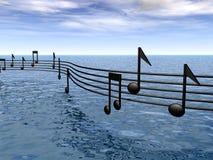 Musique de rayure au-dessus de la mer Image libre de droits