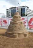 Musique de sculpture en sable la nuit blancs festival Images stock