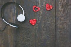 Musique de vue supérieure avec le fond de jour de valentines Photos libres de droits