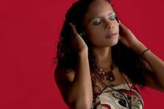 Musique et beauté en rouge Photo stock