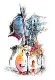Musique et la ville illustration stock