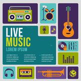 Musique infographic et ensemble d'icône d'instruments Photographie stock