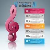 Musique infographic Icône de clef triple Notez le graphisme Photos stock