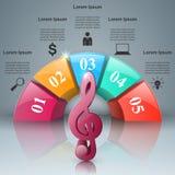 Musique infographic Icône de clef triple Notez le graphisme Images stock