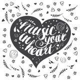 Musique tirée par la main de lettrage à votre coeur avec des fleurs illustration de vecteur