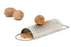 Muskatnuts mit Schleifer stockbild