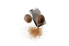 Muskatnuts und Raspel stockfotografie