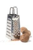 Muskatnuts und Raspel stockfoto