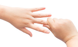 Muskel biegend, an Hand für heilen Sie Büro syndrom auf lokalisiertem Hintergrund Lizenzfreies Stockbild