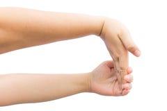 Muskel biegend, an Hand für heilen Sie Bürosyndrom Stockbild