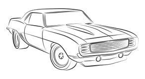 Muskelautozeichnung stock abbildung. Illustration von bleistift ...