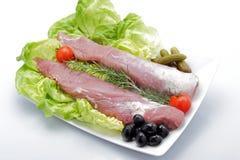 Muskelfleisch von Schweinefleisch auf weißem Hintergrund lizenzfreie stockfotografie