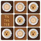 Muskelryckning-TAC-tå av cappuccino och latte Royaltyfri Illustrationer