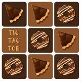 Muskelryckning-TAC-tå av syrliga munk och choklad royaltyfri illustrationer