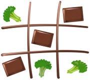 Muskelryckning Tac Toe Chocolate Arkivbild