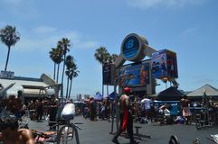 Muskelstranden i Santa Monica Here Arnold Schwarzenegger utbildade Juli 04, 2017 Lopparkitekturferier Arkivfoton