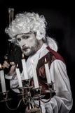 Musket, gentleman rococo era wig Stock Photos