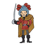 Musketeer Cape with Saber Cartoon Royalty Free Stock Image