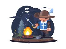 Musketeer in hat with feather. Near fire in forest. Vector illustration Royalty Free Stock Photography