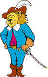 Musketeer Lion Hat Sword Cartoon Royalty Free Stock Photography