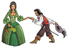 Musketeer and the Queen Royalty Free Stock Photography