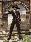 Musketeer with a sword. Fantasy musketeer with a sword, standing at a ruined gate Stock Image