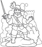 Musketeer with a sword in the hands of Royalty Free Stock Image