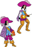 Musketeer in two poses Stock Images