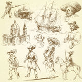 Musketeers. Hand drawn vintage collection Royalty Free Illustration