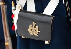 Musketeers bag with coat of arms Stock Photography