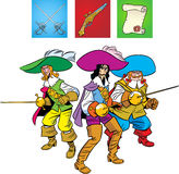 Musketeers defend. Three Musketeers are in the position of Defense. The illustration also presented a pistol,fencing sword and scroll Royalty Free Stock Photos