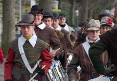 Musketeers på Carnaval av Escalade Arkivbilder