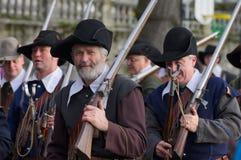Musketier bei Carnaval von Escalade Stockfotos