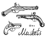 Muskets set different guns Royalty Free Stock Photo