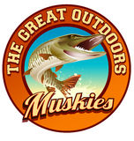 Muskie fishing illustration label design. Fishing logo design for recreation travel Royalty Free Stock Image