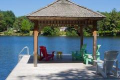 Muskoka Chairs on the Dock. Located in community of Muskoka Ontario Canada Stock Photos