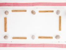 Muskotnöt och cinamon med det kontrollerade röda bandet Royaltyfri Bild