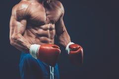 Muskulös boxare i studioskytte, på svart bakgrund Arkivfoton
