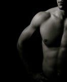 muskulös en stående för konstnärlig mörk man Royaltyfri Fotografi