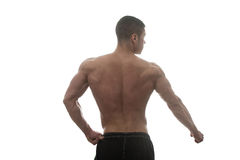 Muskulös kroppsbyggare Guy Posing Over White Background Arkivbilder