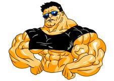 Muskulös kroppsbyggare i solglasögon Arkivbild