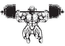 Muskulös kroppsbyggare i utbildning Arkivfoto
