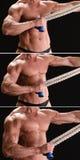 Muskulös kroppsbyggare med repet Royaltyfri Bild