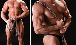 Muskulös kroppsbyggare med repet Fotografering för Bildbyråer